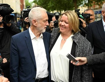 Labour leader Jeremy Corbyn with newly elected Labour MP Lisa Forbes in Peterborough. June 7, 2019. Forbes liked Facebook posts asserting Theresa May has a 'Zionist Slave Masters agenda,' and that the Mossad created ISIS