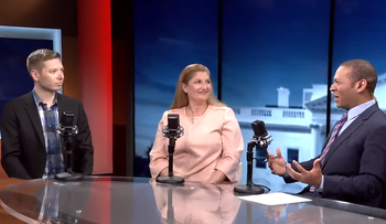 Yair Netanyahu, left, appearing on U.S. conservative television channel BlazeTV. The interview aired on June 11, 2019.