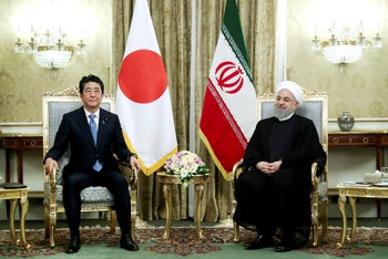 Japanese Prime Minister Shinzo Abe and Iranian President Hassan Rohani, meet at the Saadabad Palace in Tehran, Iran, on Wednesday, June 12, 2019.