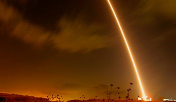 File photo: Iron dome system intercepts rockets fired from Gaza, August, 2019.