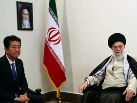 Iranian Supreme Leader Ayatollah Ali Khamenei during a meeting with Japanese Prime Minister Shinzo Abe in Tehran, Iran, June 13, 2019.