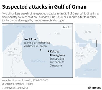 Map locating the two tankers hit in suspected attacks in the Gulf of Oman on June 13, 2019
