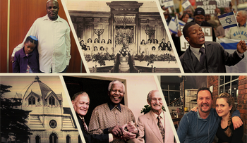 Scenes from South Africa, including Angel Moses's bat mitzvah ceremony, seen with father Samuel Moses (TL); David Jacobson and Heidi Jane Esakov-Jacobson; Nat Bregman, Nelson Mandela and Lazar Sidelsky; and the old synagogue in Port Elizabeth.