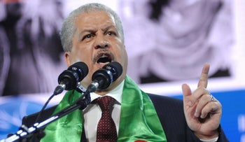 President Abdelaziz Bouteflika's then-campaign manager, Abdelmalek Sellal, delivers a speech to supporters in Algiers,  April 13, 2014