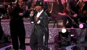 "Ne-Yo performs during the ""Motown 60: A Grammy Celebration"" concert at Microsoft theatre in Los Angeles, California, U.S., February 12, 2019"