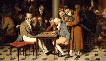 A Game of Draughts at Cafe Lamblin, by Louis Leopold Boilly.