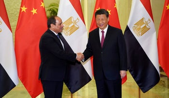 Egyptian President Abdel-Fattah al-Sissi and his Chinese counterpart, Xi Jinping, at a Belt and Road meeting in Beijing, April 25, 2019.