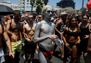 People at the pride parade in Tel Aviv on June 14, 2019.