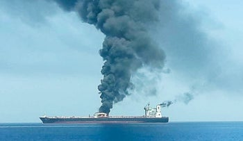 An oil tanker after it was attacked at the Gulf of Oman, in waters between Gulf Arab states and Iran, June 13, 2019.