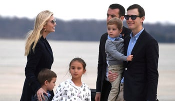 Ivanka Trump, Jared Kushner and their children disembark from Air Force One, after a trip at Trump's Mar-a-Lago estate in Florida, at Joint Base Andrews, in suburban Washington, March 10, 2019.