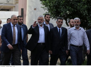 Hamas political chief Ismail Haniyeh with senior members of Hamas in Gaza City, October 24, 2018.
