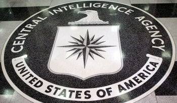 The logo of the U.S. Central Intelligence Agency in the lobby of the CIA headquarters in Langley, Virginia, March 3, 2005.