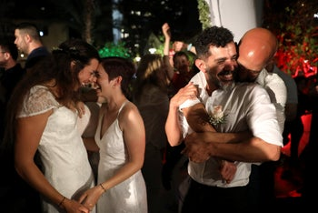 Hundreds of LGBTQ couples took part in a mass same-sex unofficial wedding ceremony organized by the Tel Aviv municipality to protest the lack of marriage equality in Israel. June 4, 2019