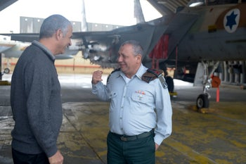 Finance Minister Moshe Kahlon with former Chief of Staff Lt. Gen. Gadi Eisenkot at Hatzerim air base, in southern Israel, in 2016.