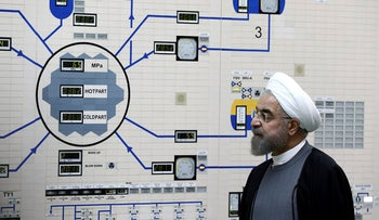 Iranian President Hassan Rohani visits the Bushehr nuclear power plant in January, 2015.