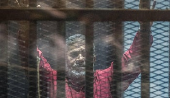 Mohamed Morsi during his trial in Cairo in April, 2016.