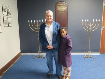 Marion Bubly and Angela Moses at Temple Israel synagogue in Hillbrow, Johannesburg.