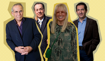 Stef Wertheimer (left), Eyal Ofer, Miriam Adelson and Patrick Drahi (right).