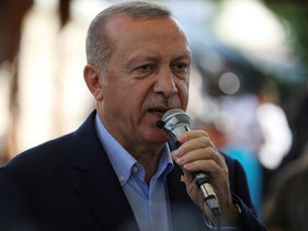 Erdogan speaks after funeral prayers in absentia for Morsi, at Fatih Mosque in Istanbul, June 18, 2019.