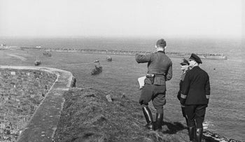 German soldiers tour the grounds of Alderney's Fort Albert fortress, 1942.