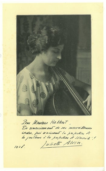 "French cellist Juliette Alvin wrote that Hakkert's strings were ""marvelous."""