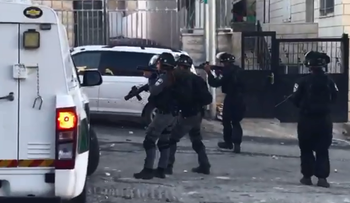 Israel police clash with Palestinians in the East Jerusalem neighborhood of Isawiyah, June 19, 2019.