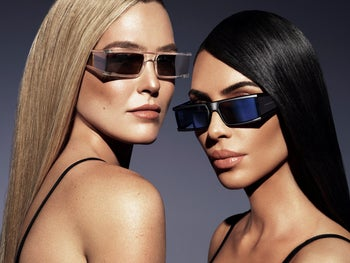 Kim Kardashian, right, and Israeli model Bar Refaeli who has a stake in the eyewear brand.