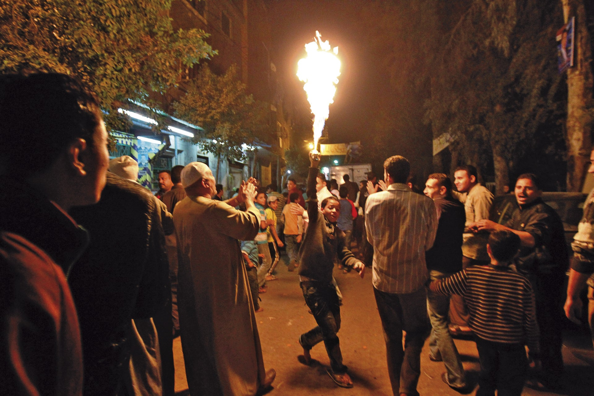 Fire eaters in Cairo.