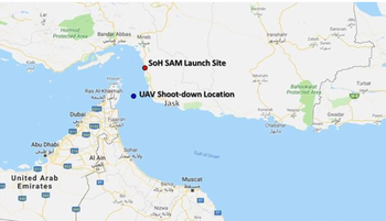 Map of the location where a U.S. drone was shot down by Iran on Thursday, and the location where the missile was launched, according to the U.S. Defense Department.