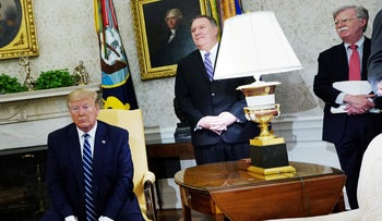 Donald Trump, Mike Pompeo, and John Bolton in the Oval Office on June 20, 2019.