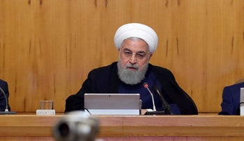 Iranian President Hassan Rohani at a cabinet meeting in Tehran, Iran, June 19, 2019.