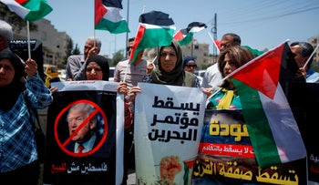 Palestinians rally against the U.S.-led Israeli-Palestinian peace conference in Bahrain, Bethlehem, West Bank, June 20, 2019.