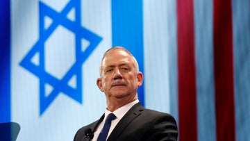 Israel's Blue and White party leader Benny Gantz pauses while speaking at AIPAC in Washington, U.S., March 25, 2019