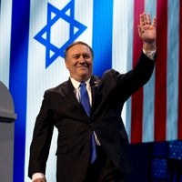 U.S. Secretary of State Mike Pompeo waves as he speaks in Washington, Monday, March 25, 2019