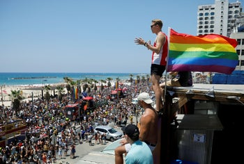Revelers taking part in the Pride parade in Tel Aviv, June 14, 2019. Only 70 kilometers yet a world away from Gaza.