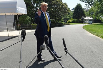 U.S. President Donald Trump speaks to reporters on the South Lawn of the White House in Washington, June 22, 2019.