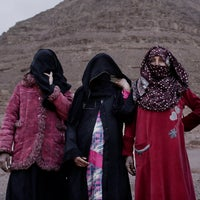 The first female Bedouin tour guides pose for a photograph in Wadi Sahw, Abu Zenima, in South Sinai, Egypt, March 30, 2019