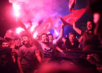 Turkish people gather to wave flags and celebrate after the Istanbul mayoral elections re-run, at Kadikoy in Istanbul, June 23, 2019