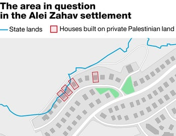 The area in question in the Alei Zahav settlement
