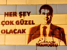 Spray-painted graffiti showing opposition candidate Ekrem Imamoglu and his slogan 'Everything will be alright,' Istanbul, June 23, 2019.