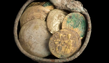 900-year-old coins found at the Caesarea port in 2018.