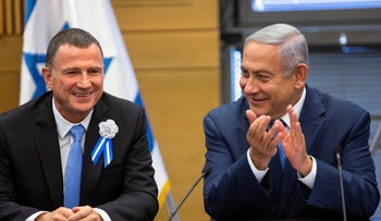 Netanyahu with Yuli Edelstein in Knesset, April 30, 2019.
