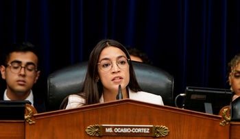Rep. Alexandria Ocasio-Cortez speaks during a hearing in Washington, May 15, 2019.