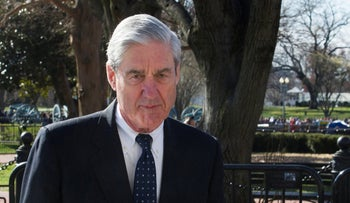 Robert Mueller walks past the White House, after attending St. John's Episcopal Church for morning services, Washington D.C., March 24, 2019.
