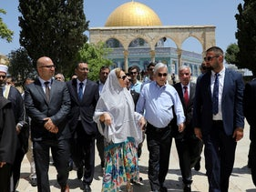 Chilean President Sebastian Pinera and his wife Cecilia Morel walk on the compound of the Temple Mount, during their visit to Jerusalem's Old City June 25, 2019.