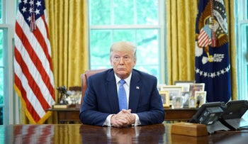 U.S. President Donald Trump speaks during a meeting with advisors about fentanyl in the Oval Office of the White House in Washington, DC, June 25, 2019