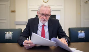 Labour Party leader Jeremy Corbyn at his office in the Houses of Parliament in London, April 2, 2019.