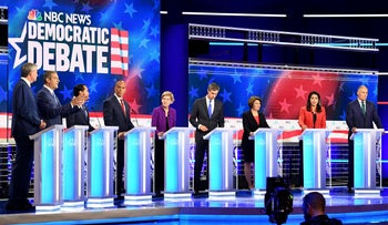 Democratic presidential candidates at the first 2020 debate in Miami, Florida, June 26, 2019.