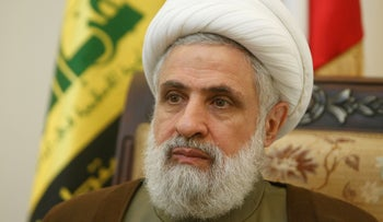 FILE Photo: Lebanon's Hezbollah deputy leader Sheikh Naim Qassem during an interview with Reuters at his office in Beirut, Lebanon, August 3, 2016.