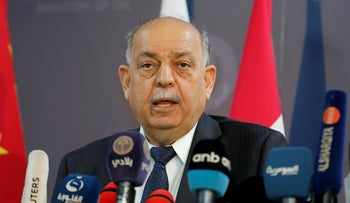 Iraqi Oil Minister Thamer Ghadhban speaks to the media at the ministry's headquarters in Baghdad, Iraq, May 8, 2019.